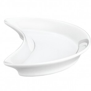 """Crescent plate 8"""" / 210mm x 4"""" / 105mm white porcelain - Singly sold"""