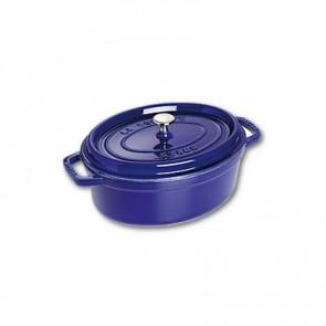 """Oval cast iron cocotte 11.4"""" / 29 cm - intense blue"""