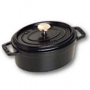 Oval cast iron cocotte 11 cm - black