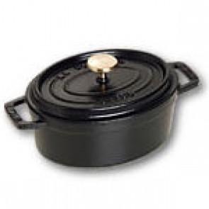 """Oval cast iron cocotte 6"""" / 15 cm - black"""