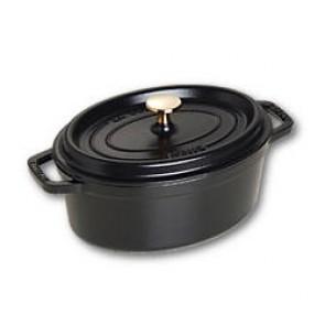 """Oval cast iron cocotte 9"""" / 23 cm - black"""