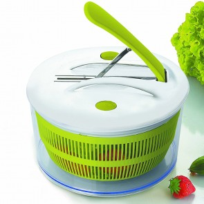 Plastic salad spinner with handle