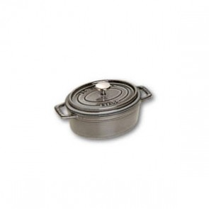 "Oval cast iron cocotte 6.6"" / 17 cm - graphite grey"