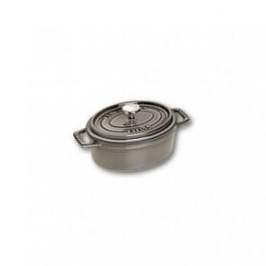 "Oval cast iron cocotte 4.3"" / 11 cm - graphite grey"