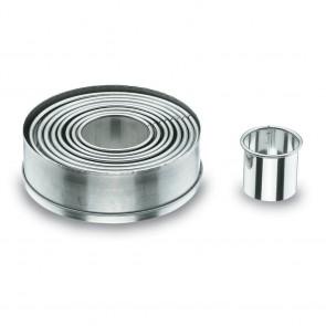 Lot de 9 découpoirs ronds unis inox 4 à 12cm - Emporte-pièces-