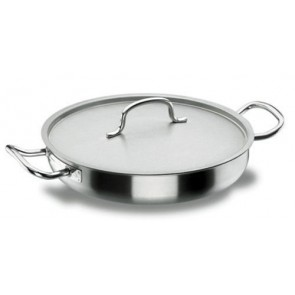 Round paella pan Ø 28cm with lid - induction stainless steel 18/10 - Chef Classic - Lacor
