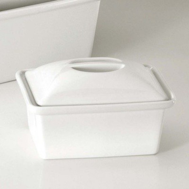 Porcelain oblong casserole with lid 81oz / 240cl white - Pillivuyt