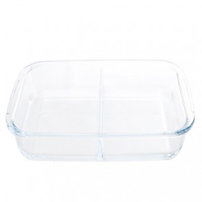 Rectangular glass oven dish 2 compartments 13.4 x 8.3""