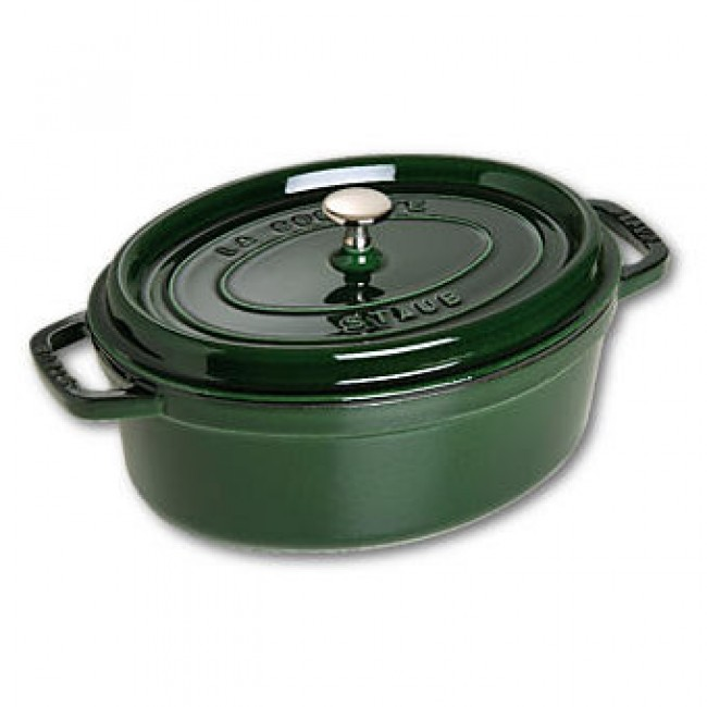 """Oval cast iron cocotte 11.4"""" / 29 cm - basil green"""