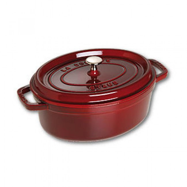 "Oval cast iron cocotte 11.4"" / 29 cm - grenadine red"