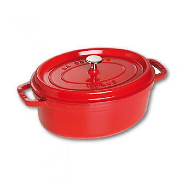 "Oval cast iron cocotte 13"" / 33 cm - cherry red"