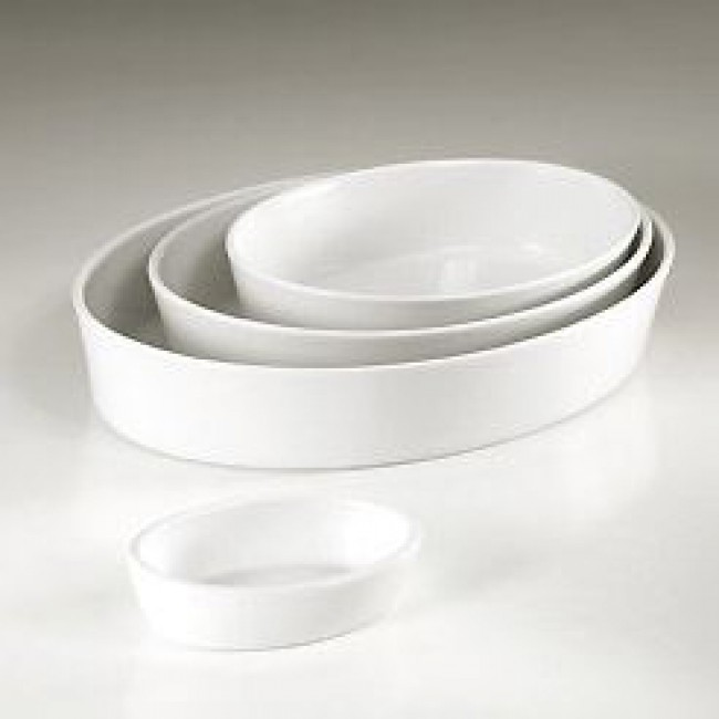 "Porcelain deep oval baker (10x7"") 26x19cm white - Pillivuyt"