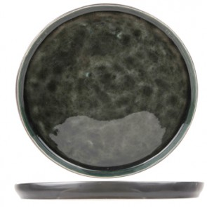 "Dessert plate black and green 8"" / 21cm - Laguna Verde - Cosy & Trendy"