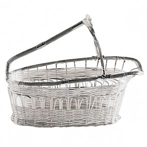 Wine bottle basket in silverplated stainless steel