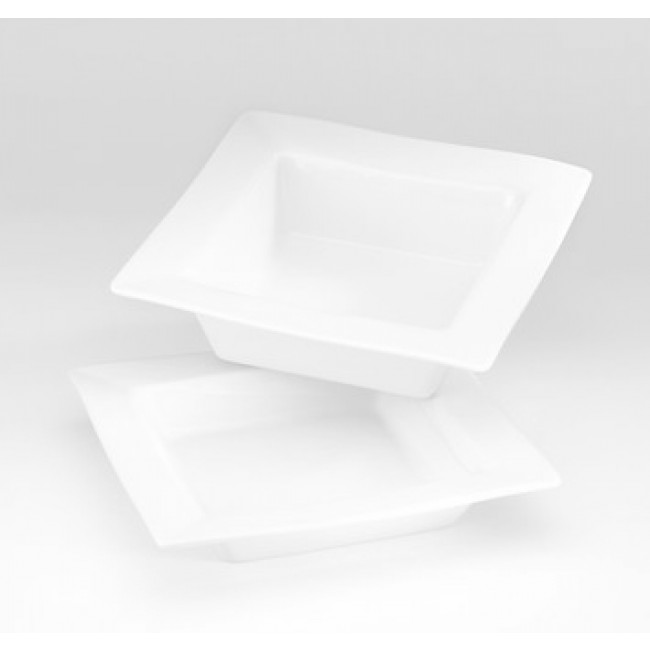 "Square porcelain rimmed bowl 8"" / 20cm x 8"" / 20cm white - Quartet - Pillivuyt"