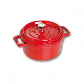 "Round cast iron cocotte 4"" / 10 cm - cherry red"