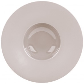 """Taupe porcelain round deep plate wide wing 12,2"""" / 31cm"""