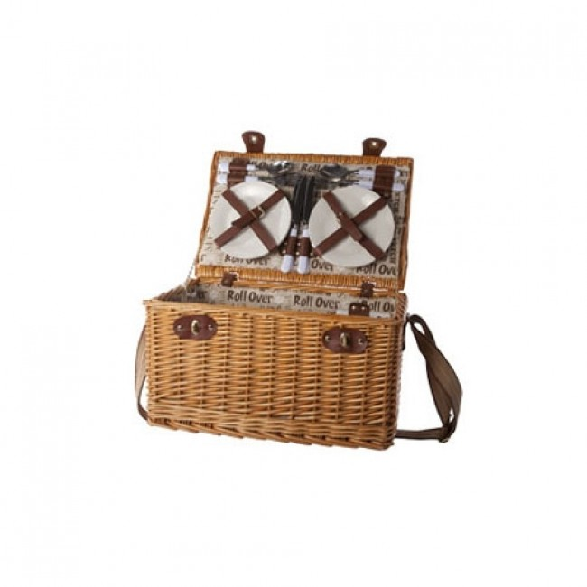 "Straw picnic basket 4 pieces - cutlery - plates - glasses - bottle opener - 18 x 12 x 9 "" / 45 x 31 x 24 cm"