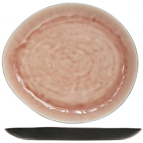 "Oval plate black and rose 11"" / 28cm - Laguna Old Rose - Cosy & Trendy"
