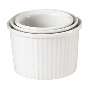 "Porcelain deep pleated ramekin 4oz / 11cl (3"" / 7cm) white - Pillivuyt"