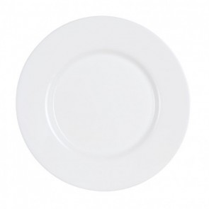 "Round flat plate white 9"" - Sold by 6"