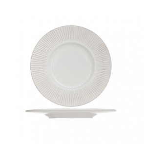 "Round deep plate 9"" / 22.5cm white patina - Epis - Cosy & Trendy"