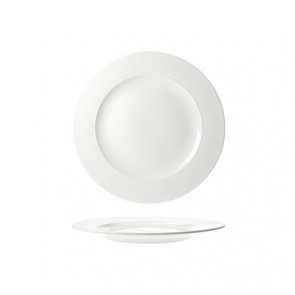 "Round dessert plate 9x1"" / 22.7x1.9cm white - Rings - Cosy & Trendy"