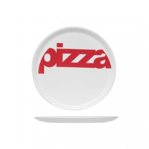 Round white pizza plate 29 cm with red inscription - Set of 6 - Cosy & Trendy