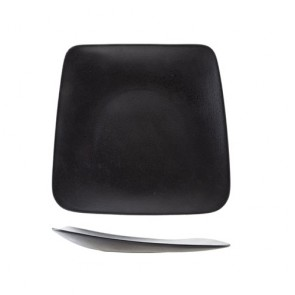 "Black porcelain rectangular plate 11-9x10""/28-23x26cm - Set of 6"