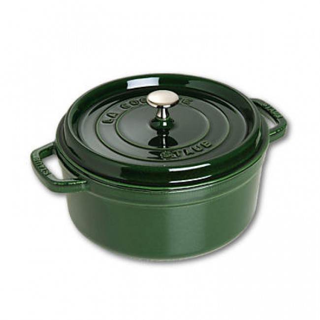 "Round cast iron cocotte 10.2"" / 26 cm - basil green"