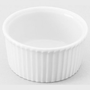 "Porcelain classic pleated ramekin 1oz / 3cl white 2"" / 5cm"