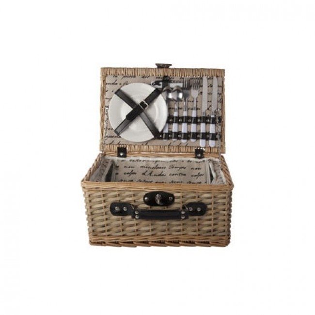 "Straw picnic basket 2 people - cutlery - plates - glasses - bottle opener - 15 x 10 x 7 "" / 38 x 26 x 19 cm"