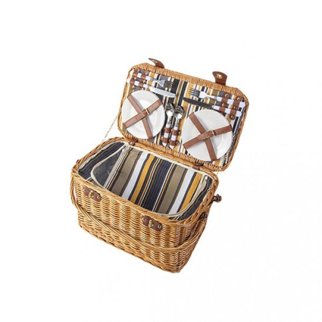 "Straw picnic basket 4 pieces - cutlery - plates - glasses - bottle opener - salt box - pepper box 16 x 11 x 7 "" / 40 x 28 x 19 cm"