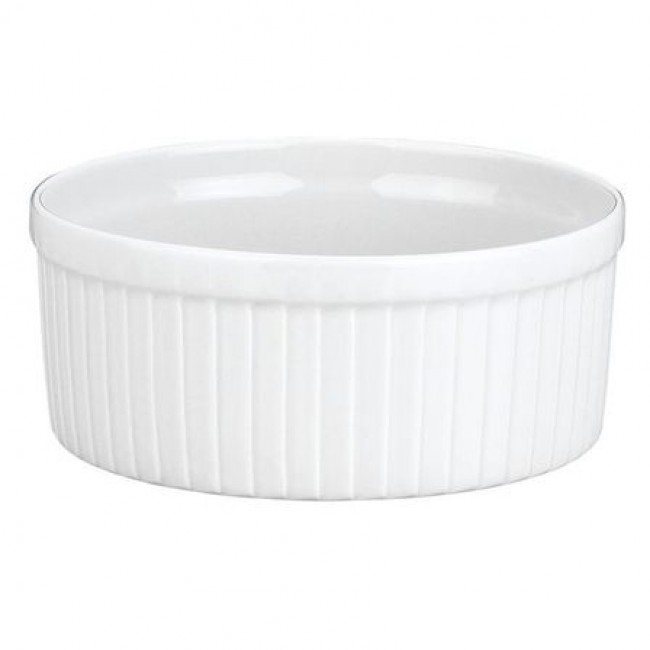 "Porcelain classic pleated soufflé dish 30oz / 90cl white 6"" / 15.2cm - Pillivuyt"