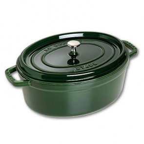 "Oval cast iron cocotte 13"" / 33 cm - basil green"