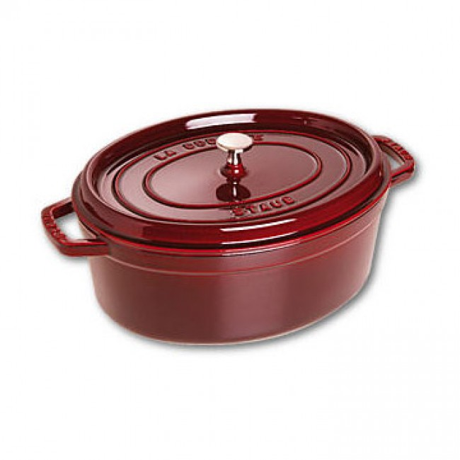 "Oval cast iron cocotte 13"" / 33 cm - grenadine red"