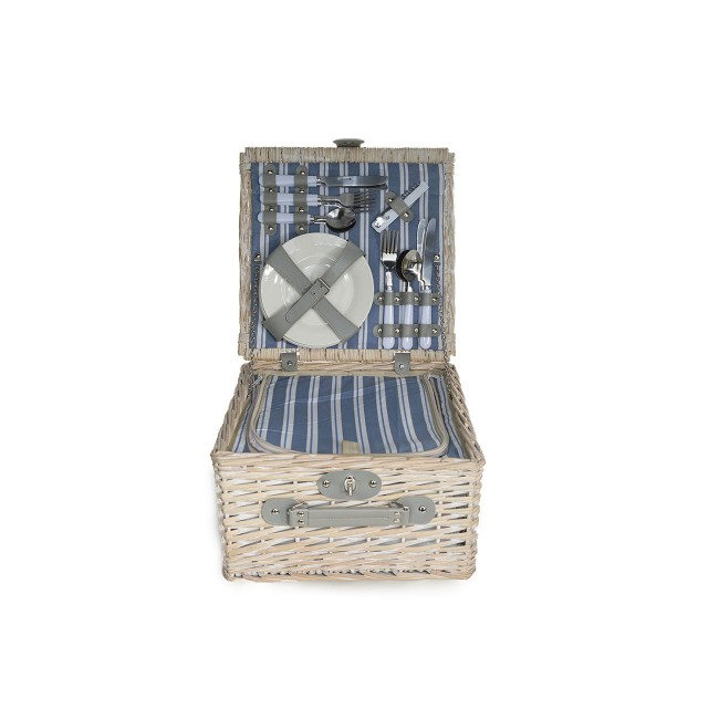 """Straw picnic basket 4 pieces - cutlery - plates - glasses - bottle opener - 14 x 13 x 14 """" / 35.5 x 33 x 35 cm"""