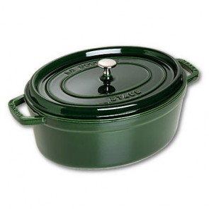 "Oval cast iron cocotte 12.2"" / 31 cm - basil green"