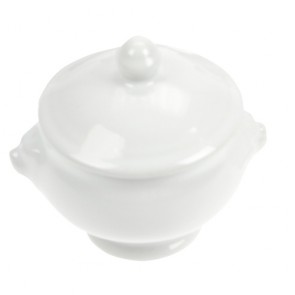 Porcelain aperitif pot white 1.8oz / 54ml - Tête de lion - Cosy & Trendy